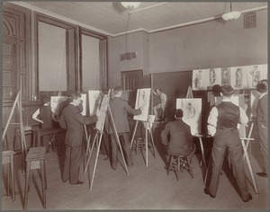 Boston public school, evening drawing school, Warren Avenue 3rd year pupils drawing from life models