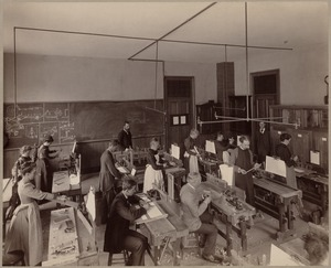 Boston Latin School (?), drafting & shop class for both men & women