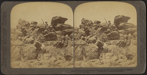 Scene of Methuen's Infantry firing on retreating Boers from the Boer stronghold at Belmont, South Africa