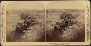 Behind the Orange River intrenchments holding back the bravely advancing Boers - S. Africa