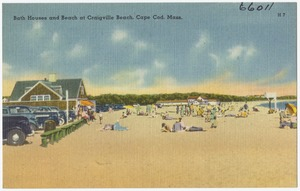 Bath house and beach at Craigville Beach, Cape Cod, Mass.