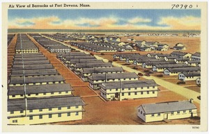 Air view of barracks at Fort Devens, Mass.