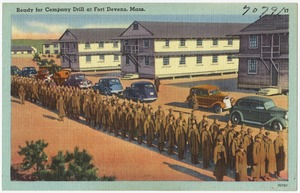 Ready for company drill at Fort Devens, Mass.
