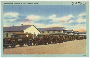 Ambulance Line-up at Fort Devens, Mass.