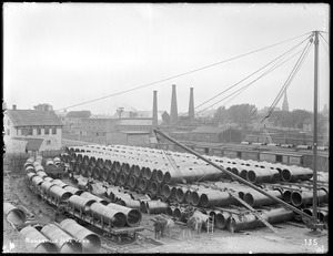Distribution Department, Low Service Pipe Lines, Somerville Pipe Yard, looking south, Somerville, Mass., May 29, 1896