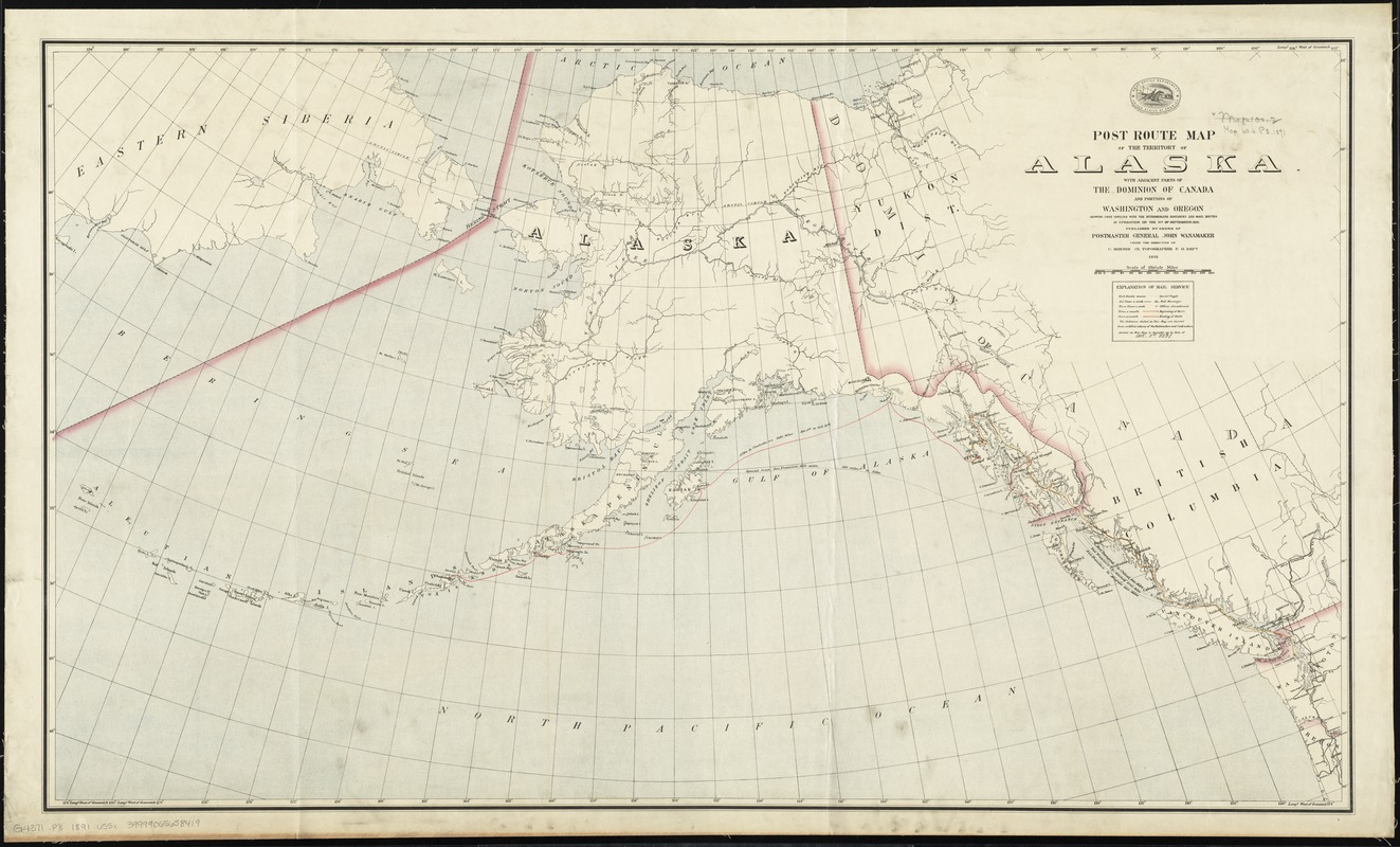 Post route map of the territory of Alaska with adjacent parts of the Dominion of Canada and portions of Washington and Oregon showing post offices with the intermediate distances and mail routes in operation on the 1st of September 1891