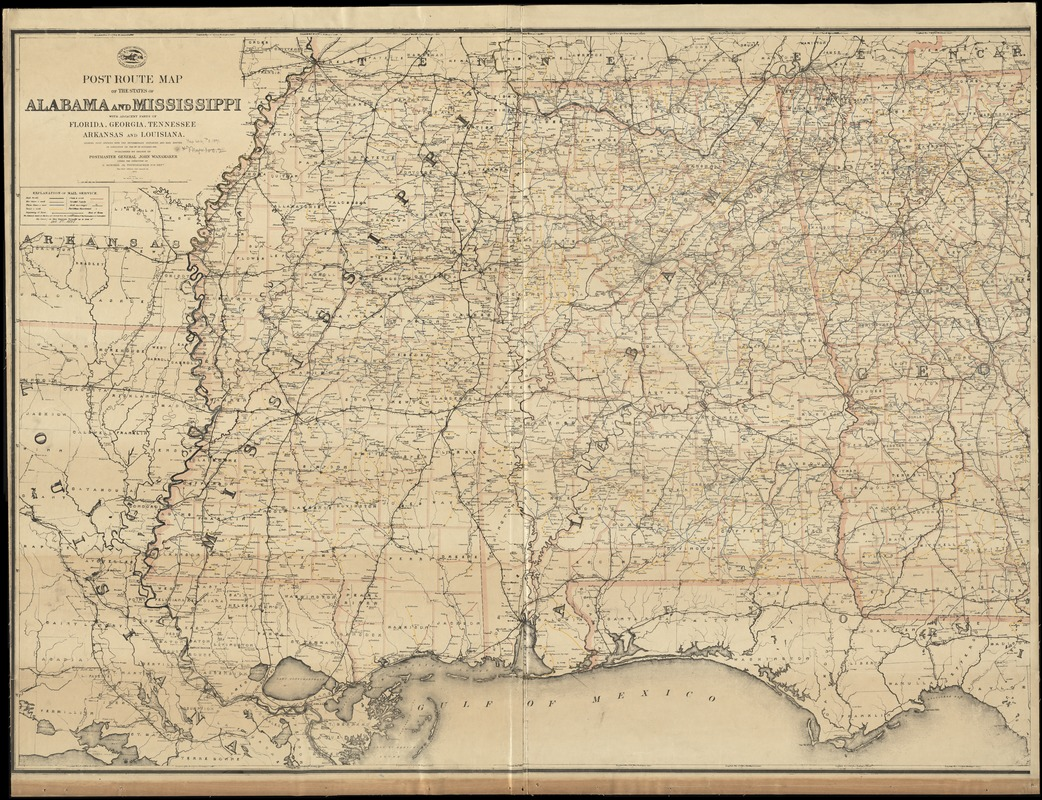 Florida And Georgia Map.Post Route Map Of The States Of Alabama And Mississippi With