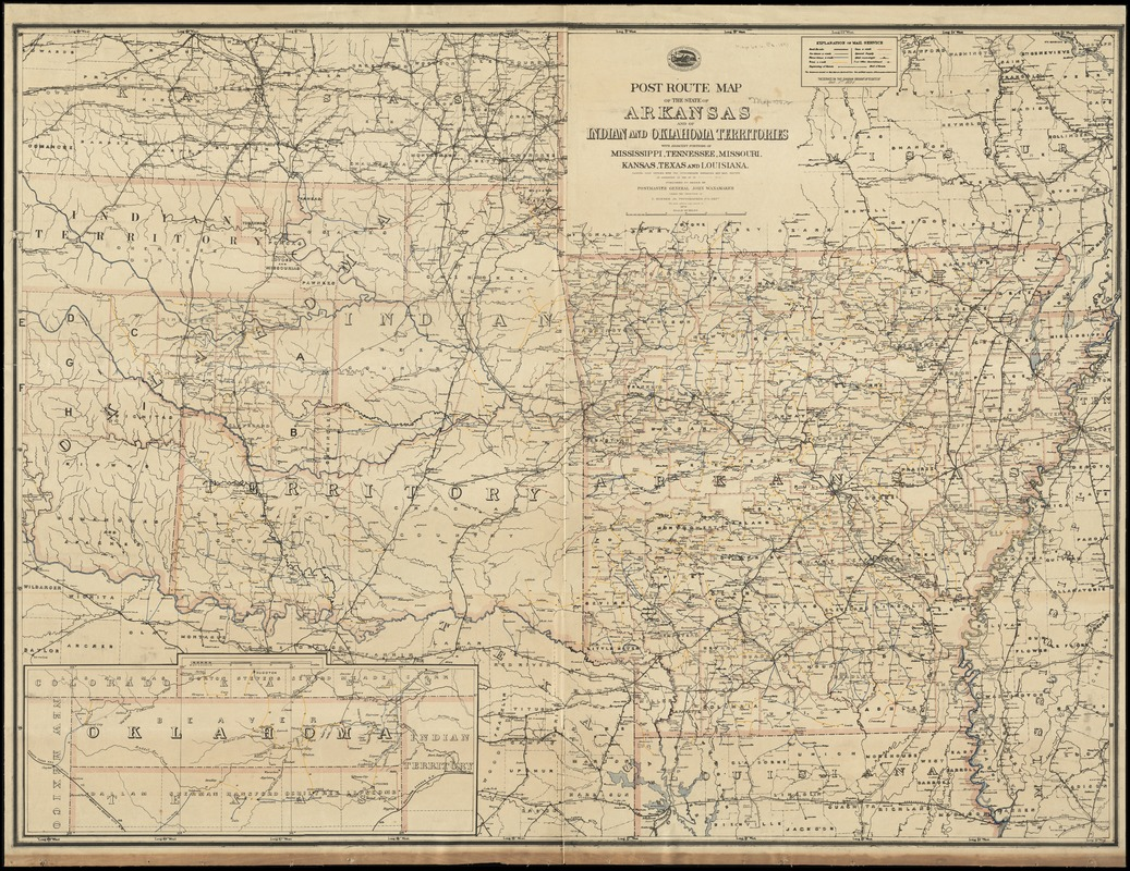 Post route map of the State of Arkansas and of Indian and Oklahoma