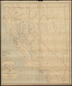 Post route map of the states of California and Nevada with adjacent parts of Oregon, Idaho, Utah, Arizona and of the Republic of Mexico