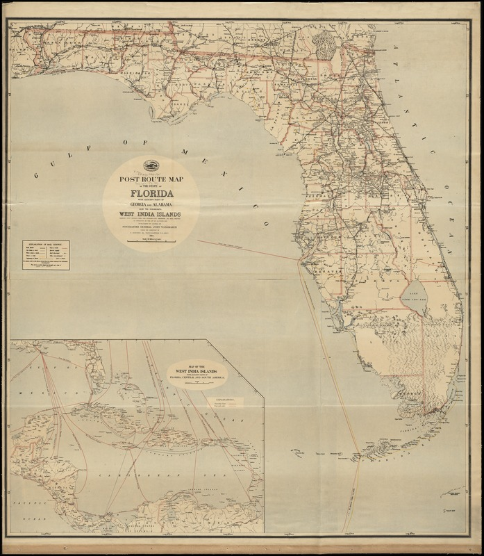 Post route map of the State of Florida with adjacent parts of Georgia and Alabama also the neighboring West India Islands showing post offices with the intermediate distances and mail routes in operation on the 1st of October 1891