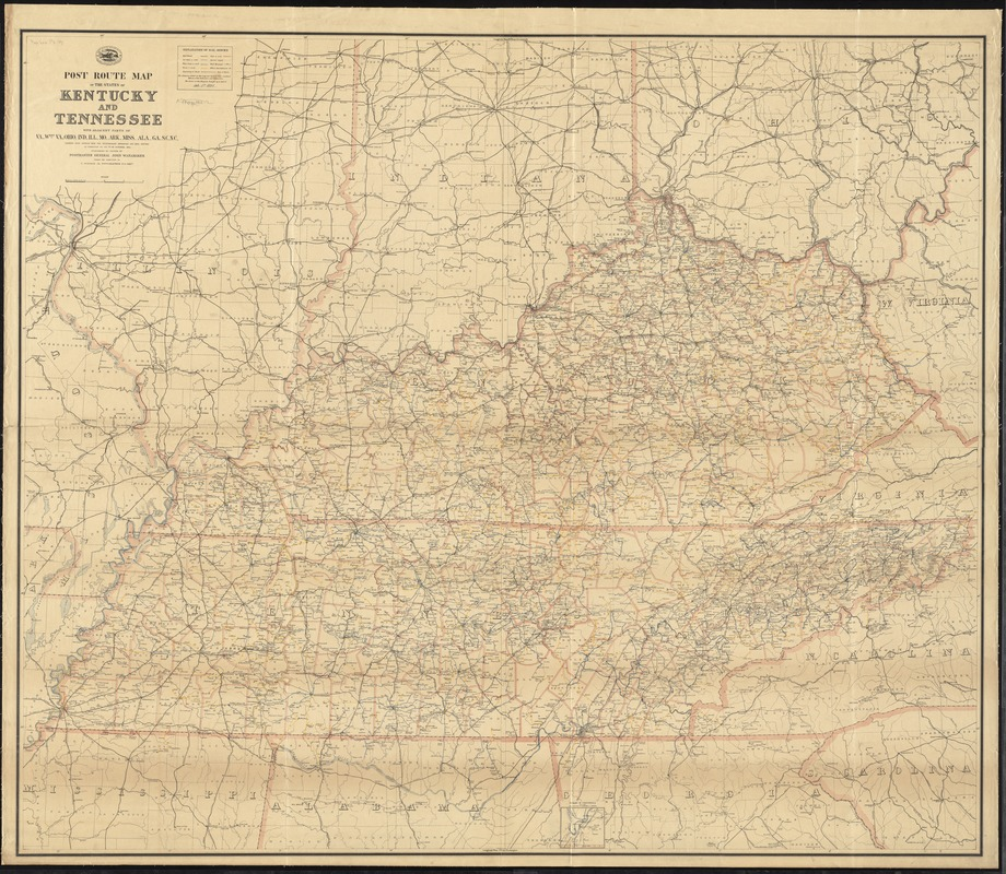 Post route map of the states of Kentucky and Tennessee with adjacent parts of Va., West Va., Ohio, Ind., Ill., Mo., Ark., Miss., Ala., Ga., S.C., N.C., showing post offices with the intermediate distances and mail routes in operation on the 1st of October 1891