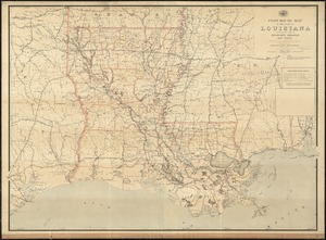 Post route map of the State of Louisiana with adjacent parts of Mississippi, Arkansas, and Texas showing post offices with the intermediate distances and mail routes in operation on the 1st. of October 1891