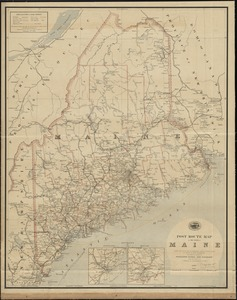 Post route map of the State of Maine showing post offices with the intermediate distances and mail routes in operation on the 1st of October 1891