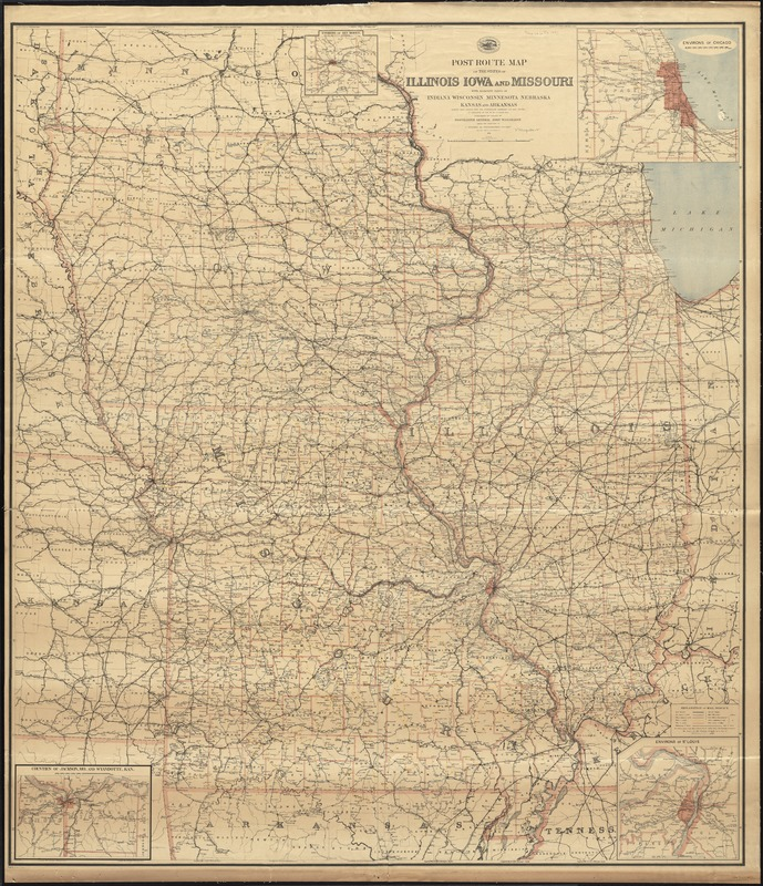 Post route map of the states of Illinois, Iowa, and Missouri with adjacent parts of Indiana, Wisconsin, Minnesota, Nebraska, Kansas and Arkansas showing post offices with the intermediate distances and mail routes in operation on the 1st of October 1891