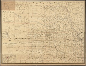 Post route map of the states of Kansas and Nebraska with adjacent parts of Missouri, Iowa, Dakota, Colorado, Texas, and Indian Territory showing post offices with the intermediate distances and mail routes in operation on the 1st. of October 1891