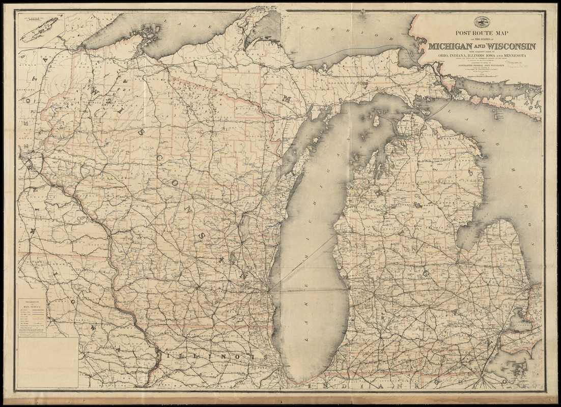 Post Route Map Of The States Of Michigan And Wisconsin With - Map of wisconsin and minnesota