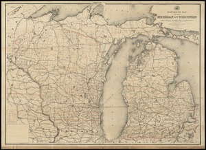 Post route map of the states of Michigan and Wisconsin with adjacent parts of Ohio, Indiana, Illinois, Iowa and Minnesota showing post offices with the intermediate distances and mail routes in operation on the 1st. of October 1891