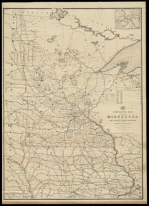Post route map of the State of Minnesota with adjacent parts of Iowa, Nebraska, Dakota, Wisconsin and of the British possessions, showing post offices with the intermediate distances and mail routes in operation on the 1st of October 1891