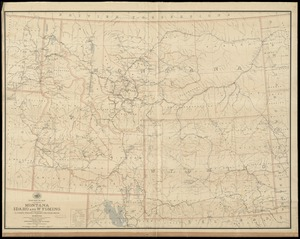 Post route map of the states of Montana, Idaho and Wyoming with adjacent parts of N. & S. Dakota, Nebraska, Colorado, Utah, Nevada, Oregon, and Washington showing post offices with intermediate distances and mail routes in operation on the 1st of October 1891