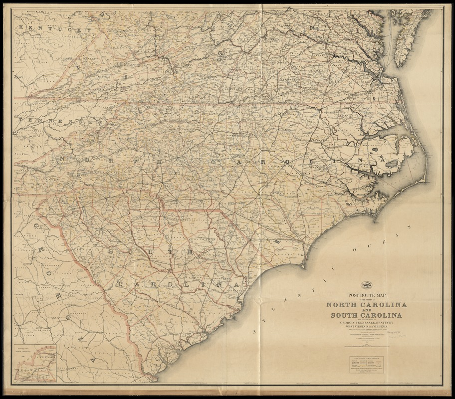 Post route map of the states of North Carolina and South Carolina ...