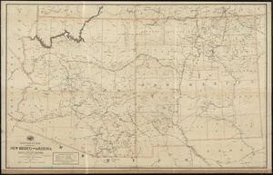 Post route map of the territories of New Mexico and Arizona with parts of adjacent states and territories showing post offices with the intermediate distances and mail routes in operation on the 1st of October 1891