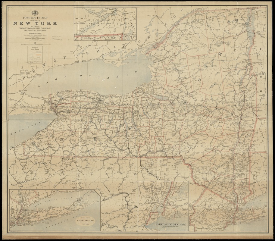 Post route map of the State of New York and parts of Vermont, Massachusetts, Connecticut, New Jersey, and Pennsylvania also the adjacent portions of the Dominion of Canada, showing post offices with the intermediate distances and mail routes in operation on the 1st of October 1891