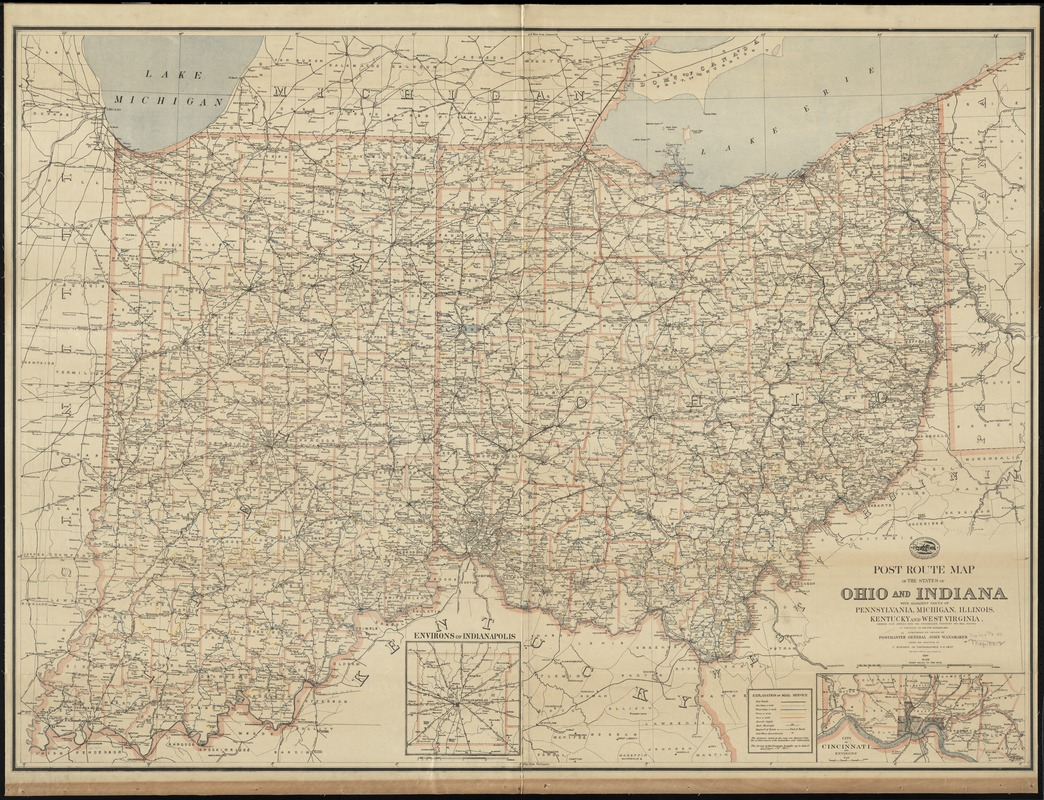 Post route map of the states of Ohio and Indiana with adjacent parts