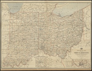 Post route map of the states of Ohio and Indiana with adjacent parts of Pennsylvania, Michigan, Illinois, Kentucky and West Virginia, showing post offices with the intermediate distances and mail routes in operation on the 1st of October 1891