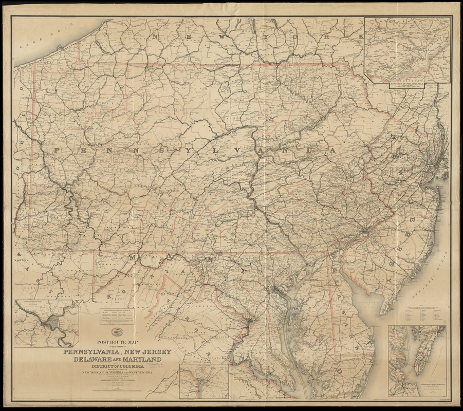 Map Of New York Ohio Area.Post Route Map Of The States Of Pennsylvania New Jersey Delaware
