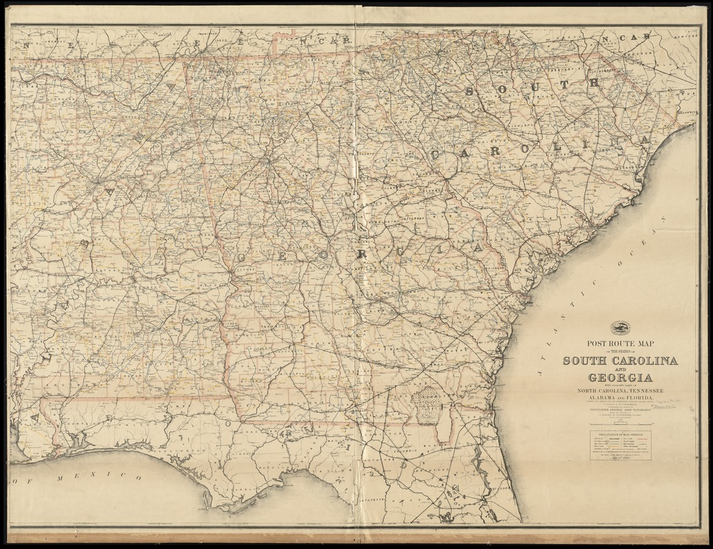 Post route map of the States of South Carolina and Georgia with adjacent parts of North Carolina, Tennessee, Alabama and Florida