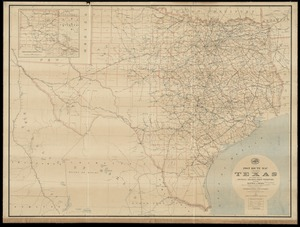 Post route map of the state of Texas with adjacent parts of Louisiana, Arkansas, Indian Territory and of the Republic of Mexico showing post offices with the intermediate distances and mail routes in operation on the 1st of October 1891