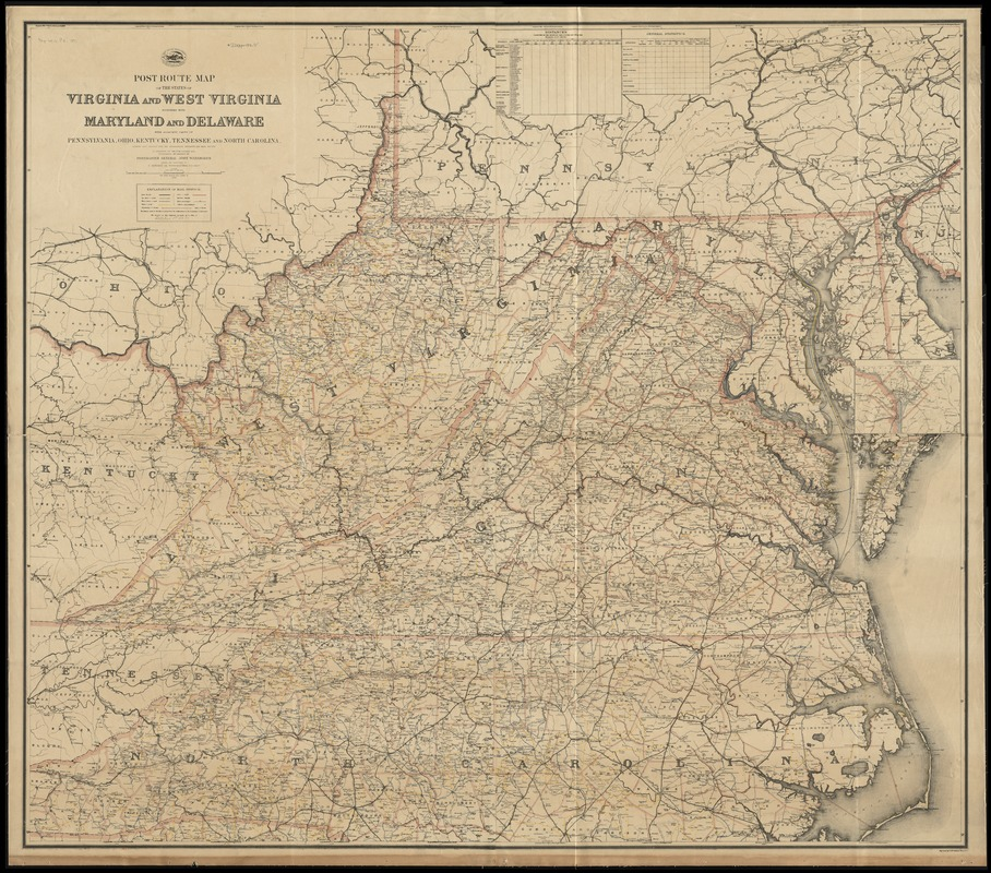 Post route map of the states of Virginia and West Virginia together with Maryland and Delaware with adjacent parts of Pennsylvania, Ohio, Kentucky, Tennessee and North Carolina