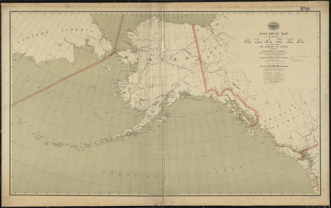 Post route map of the territory of Alaska with adjacent parts of the Dominion of Canada and portions of Washington and Oregon showing post offices with the intermediate distances and mail routes in operation on the 1st of December 1895