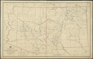 Post route map of the territories of New Mexico and Arizona with parts of adjacent states and territories showing post offices with the intermediate distances and mail routes in operation on the 1st of December 1895