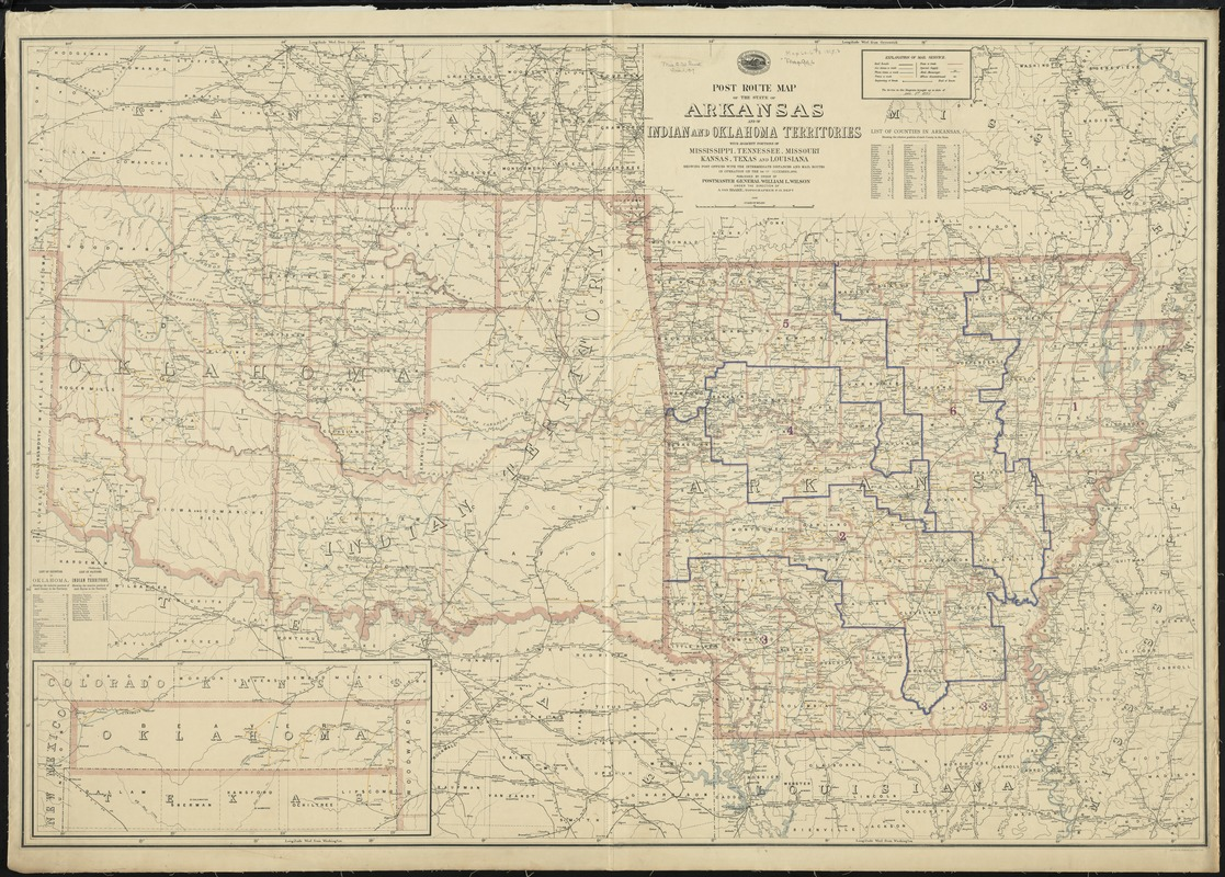 State Map Of Kansas And Oklahoma.Post Route Map Of The State Of Arkansas And Of Indian And Oklahoma