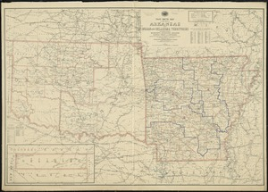 Post route map of the State of Arkansas and of Indian and Oklahoma territories with adjacent portions of Mississippi, Tennessee, Missouri, Kansas, Texas and Louisiana showing post offices with the intermediate distances and mail routes in operation on 1st of December 1895