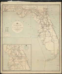 Post route map of the State of Florida showing post offices with the intermediate distances and mail routes in operation on the 1st of December 1895