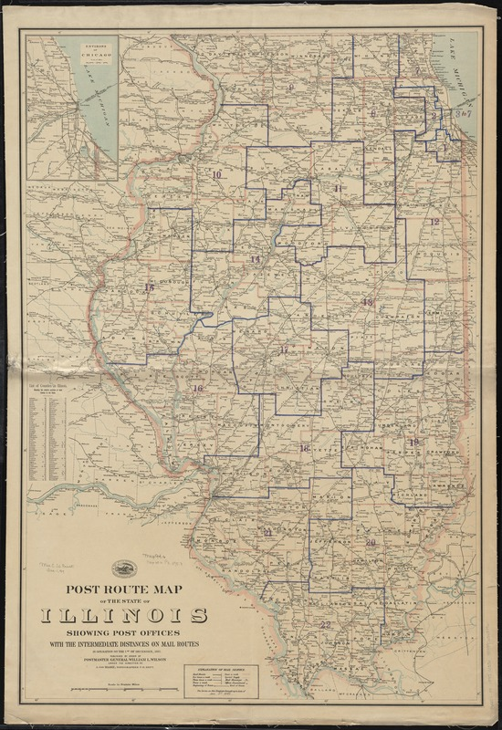 Post route map of the state of Illinois showing post offices with the intermediate distances on mail routes in operation on the 1st of December, 1895