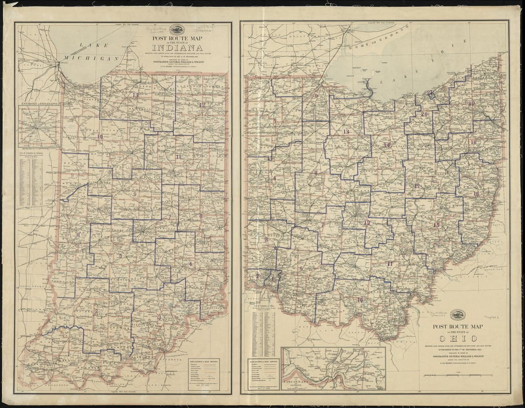 Post route map of the State of Ohio showing post offices with the