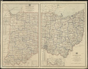Post route map of the State of Ohio showing post offices with the intermediate distances and mail routes in operation on the 1st of December, 1895 ; Post route map of the State of Indiana showing post offices with the intermediate distances and mail routes in operation on the 1st of December, 1895