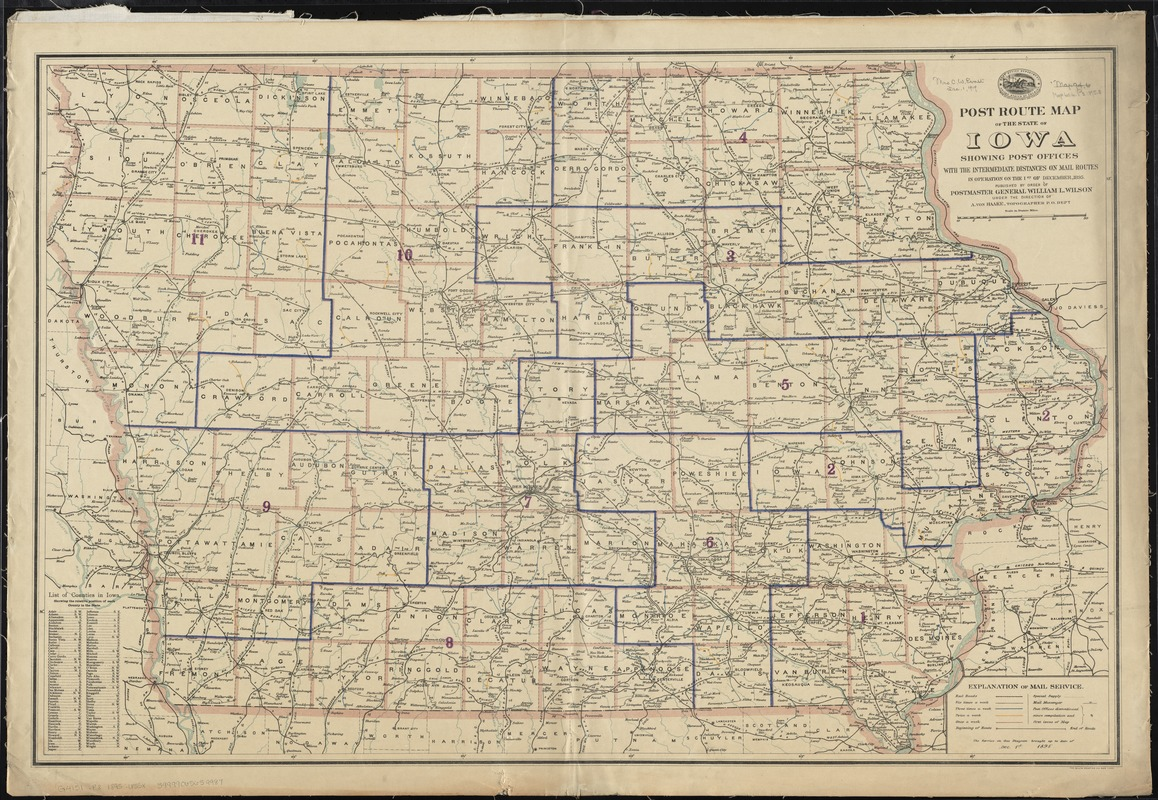 Post route map of the State of Iowa showing post offices with the intermediate distances and mail routes in operation on the 1st of December, 1895