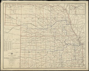 Post route map of the states of Kansas and Nebraska showing post offices with the intermediate distances and mail routes in operation on the 1st. of December, 1895
