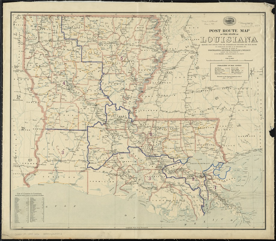 Post route map of the State of Louisiana showing post offices with the intermediate distances and mail routes in operation on the 1st. of December, 1895