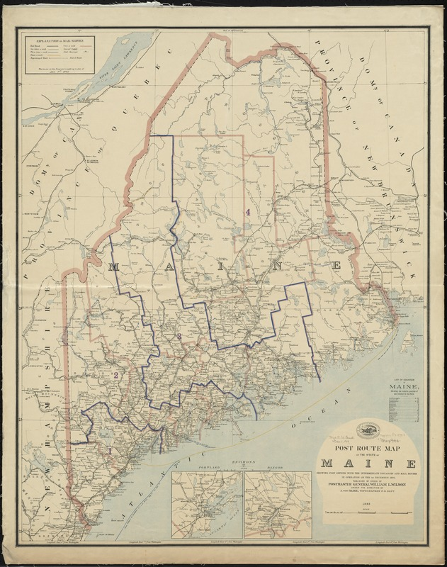 Post route map of the State of Maine showing post offices with the intermediate distances and mail routes in operation on the 1st December 1895
