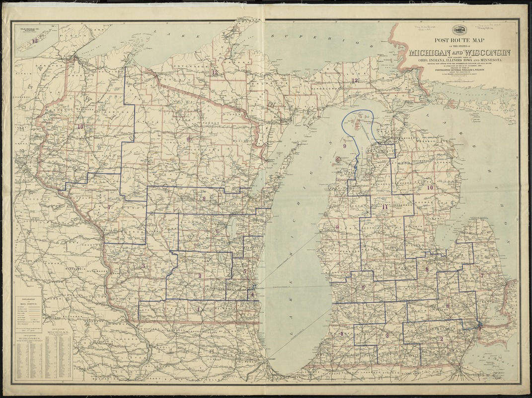 Post Route Map Of The States Of Michigan And Wisconsin With Adjacent