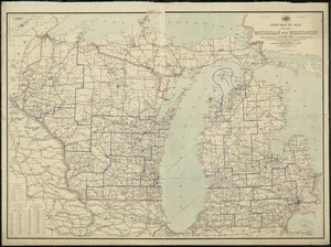 Post route map of the states of Michigan and Wisconsin with adjacent parts of Ohio, Indiana, Illinois, Iowa and Minnesota showing post offices with the intermediate distances and mail routes in operation on the 1st of December, 1895