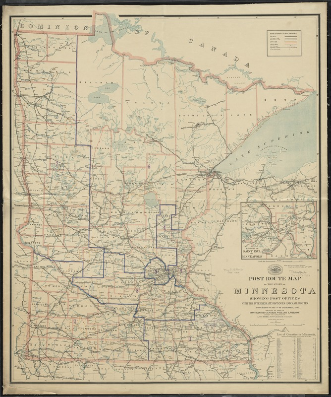 Post route map of the State of Minnesota showing post offices with the intermediate distances and mail routes in operation on the 1st. of December 1895