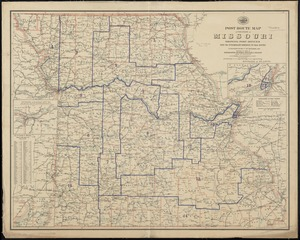 Post route map of the State of Missouri showing post offices with the intermediate distances on mail routes in operation on the 1st. of December, 1895