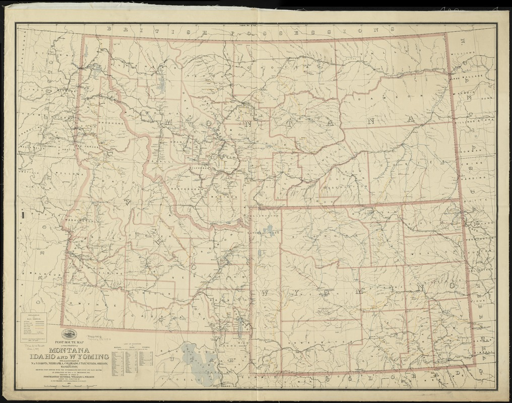 Post route map of the states of Montana, Idaho and Wyoming with adjacent parts of N. & S. Dakota, Nebraska, Colorado, Utah, Nevada, Oregon, and Washington showing post offices with intermediate distances and mail routes in operation on the 1st of December 1895