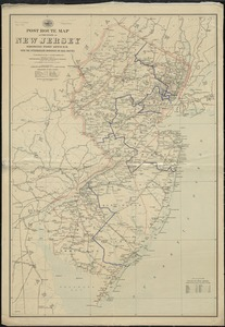 Post route map of the State of New Jersey showing post offices with the intermediate distances on mail routes in operation on the 1st of December, 1895